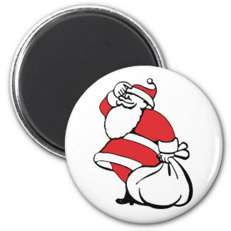 Cartoon Christmas Jolly Santa Claus, Sack of Toys 2 Inch Round Magnet