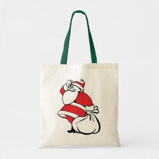 Cartoon Christmas, Jolly Santa Claus, Sack of Toys Canvas Bag