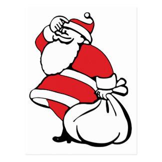 Cartoon Christmas, Jolly Santa Claus, Sack of Toys Postcard