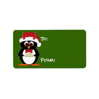 Cartoon Christmas Labels - Evil Penguin