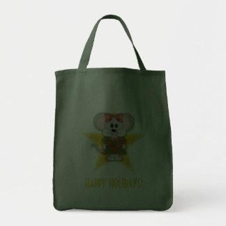 Cartoon Christmas Mouse Custom Text Canvas Bags