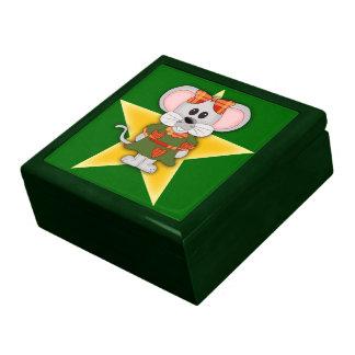 Cartoon Christmas Mouse Custom Text Keepsake Boxes