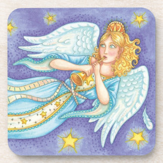 Cartoon Christmas Musician Angel Playing Her Horn Coaster