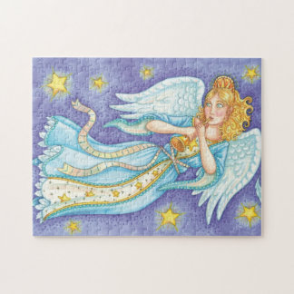 Cartoon Christmas Musician Angel Playing Her Horn Jigsaw Puzzle