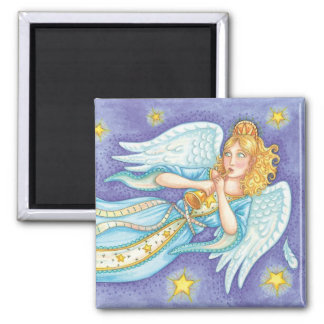 Cartoon Christmas Musician Angel Playing Her Horn 2 Inch Square Magnet
