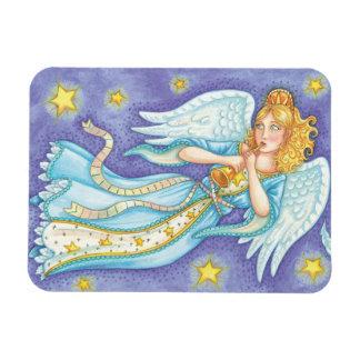 Cartoon Christmas Musician Angel Playing Her Horn Rectangular Photo Magnet