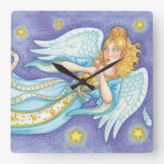 Cartoon Christmas Musician Angel Playing Her Horn Square Wall Clock