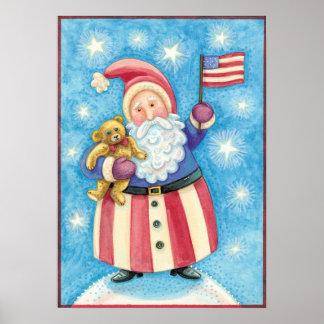 Cartoon Christmas, Patriotic Santa Claus with Flag Posters