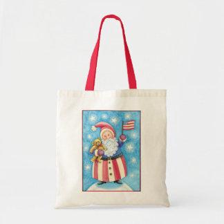 Cartoon Christmas, Patriotic Santa Claus with Flag Tote Bag