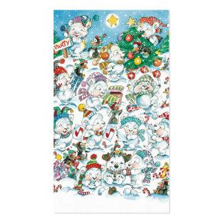 Cartoon Christmas Polar Bear Party Business Card Templates