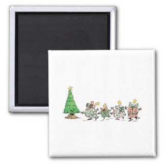 Cartoon Christmas Presents and Tree with Gold Star Fridge Magnet