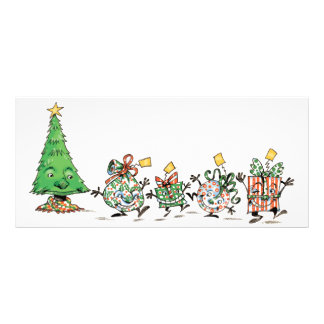 Cartoon Christmas Presents and Tree with Gold Star Customized Rack Card