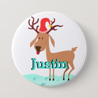Cartoon Christmas Reindeer Stocking Name Tag Pinback Button