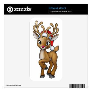 Cartoon Christmas Reindeer Wearing Santa Hat Skin For iPhone 4S