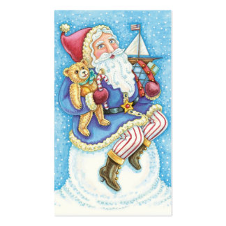Cartoon Christmas, Santa Claus on Snowball w Toys Double-Sided Standard Business Cards (Pack Of 100)