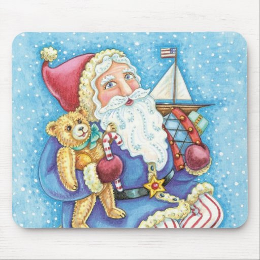 Cartoon Christmas, Santa Claus on Snowball w Toys Mouse Pads