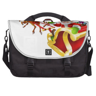 Cartoon Christmas Santa Claus Sled Laptop Bags