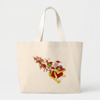 Cartoon Christmas Santa Claus Sled Tote Bags