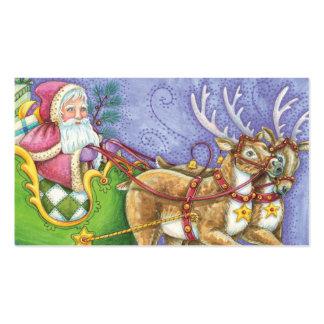 Cartoon Christmas Santa Claus Sleigh Reindeer Business Card Templates