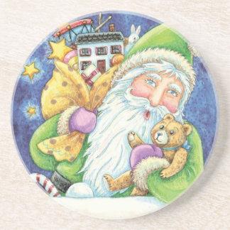 Cartoon Christmas Santa Claus, Toys Chimney Snow Coaster