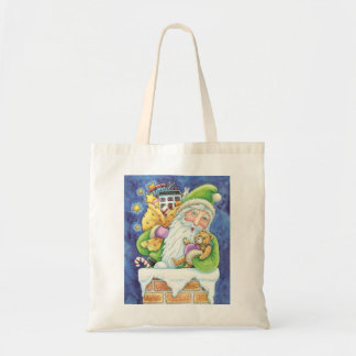 Cartoon Christmas Santa Claus, Toys Chimney Snow Tote Bag