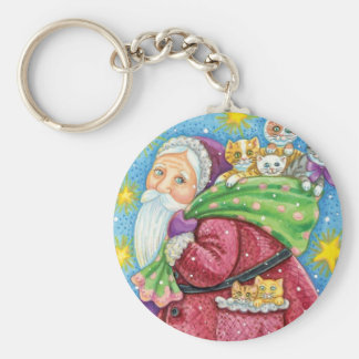 Cartoon Christmas, Santa Claus with Kittens Cats Basic Round Button Keychain