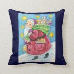 Cartoon Christmas, Santa Claus with Kittens Cats Throw Pillows