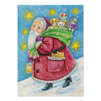 Cartoon Christmas, Santa Claus with Kittens Cats Poster