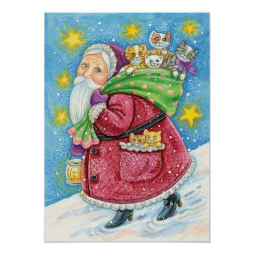 Cartoon Christmas, Santa Claus with Kittens Cats Print