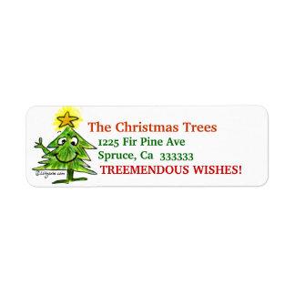 Cartoon Christmas Tree Address Label Stickers