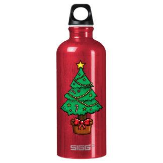Cartoon Christmas Tree Aluminum Water Bottle