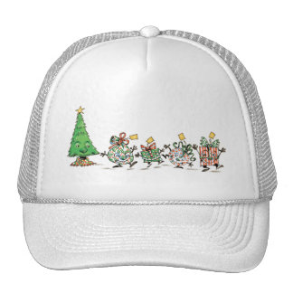 Cartoon Christmas Tree and Gifts Trucker Hat