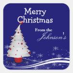 Cartoon Christmas Tree Christmas Gift Tags Square Sticker