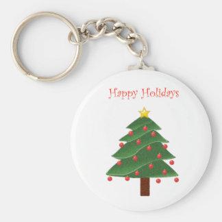 Cartoon Christmas Tree Happy Holidays Keychain