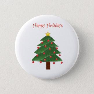 Cartoon Christmas Tree Happy Holidays Pinback Button