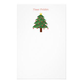 Cartoon Christmas Tree Happy Holidays Stationery