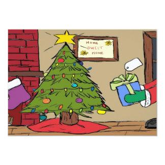 Cartoon Christmas Tree Holiday Party Invitations