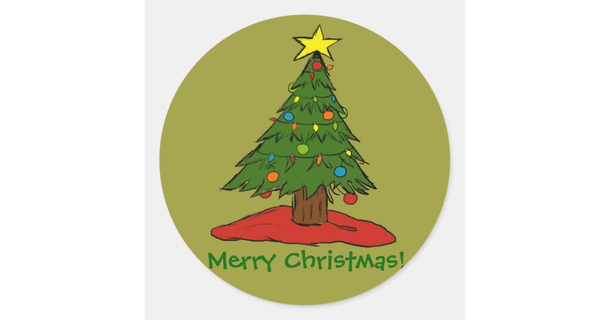 Cartoon christmas tree holiday stickers seals zazzle