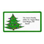 Cartoon Christmas Tree Label