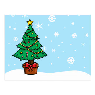 Cartoon Christmas Tree Postcard