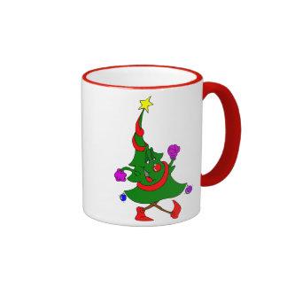 Cartoon Christmas Tree Walking Coffee Mugs