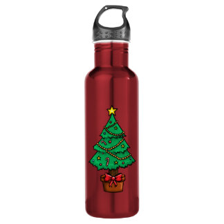 Cartoon Christmas Tree Water Bottle