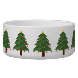 Cartoon Christmas Tree with Ornaments Drawing Bowl