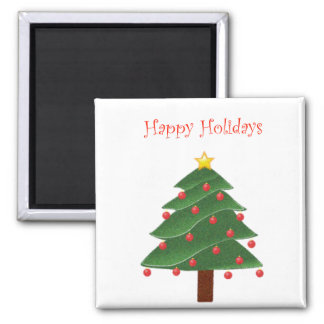 Cartoon Christmas Tree with Ornaments Drawing Magnet