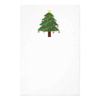 Cartoon Christmas Tree with Ornaments Drawing Stationery