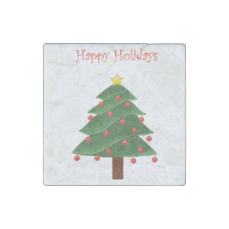 Cartoon Christmas Tree with Ornaments Drawing Stone Magnet
