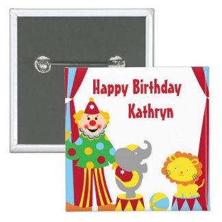 Cartoon Circus Clown and Animals Birthday Button
