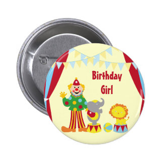 Cartoon Circus Clown and Animals Birthday Girl But Pinback Button