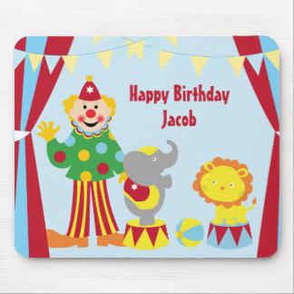 Cartoon Circus Clown and Animals Birthday Mousepad