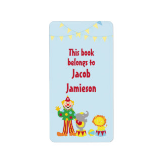Cartoon Circus Clown and Animals Bookplates Address Label